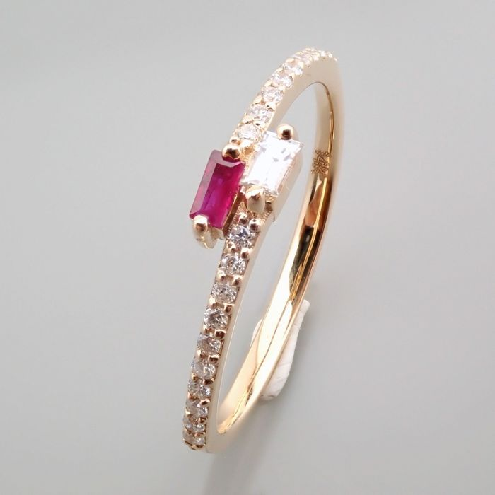 14 kt. Yellow gold - Ring - 0.14 Ct. Diamond - Ruby - Image 4 of 14
