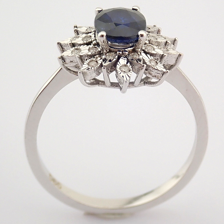 14K White Gold Diamond & Sapphire Ring - Image 2 of 8