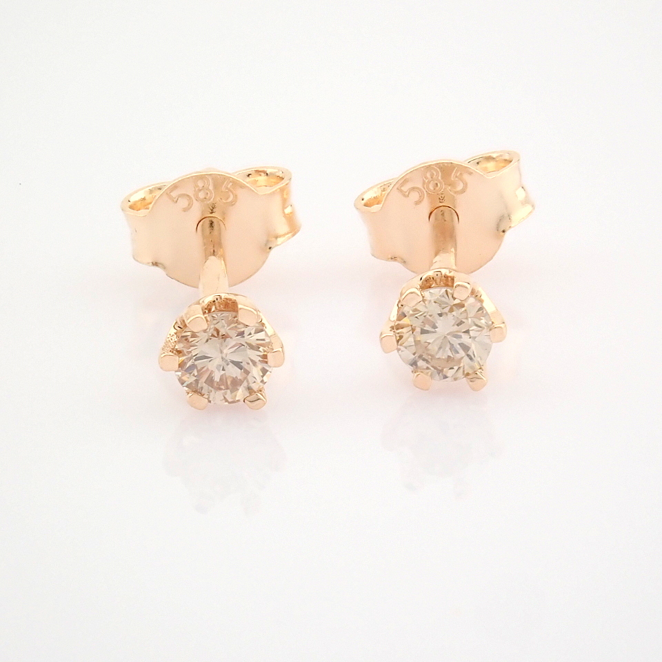 14 Rose/Pink Gold Diamond Solitaire Earring - Image 8 of 8