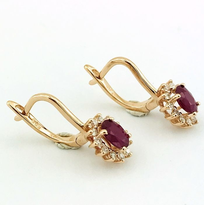 14K Pink Gold Cluster Earring , Natural Ruby and Diamond - Image 3 of 7