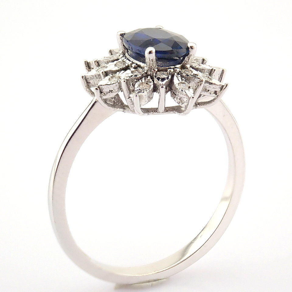14K White Gold Diamond & Sapphire Ring - Image 4 of 8