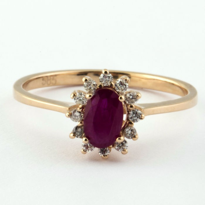 14K Pink Gold Cluster Ring , Natural Ruby and Diamond - Image 2 of 6