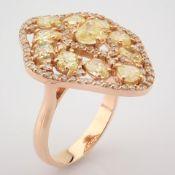 18K Rose Gold Ring- Total 2,96 Ct. Diamond