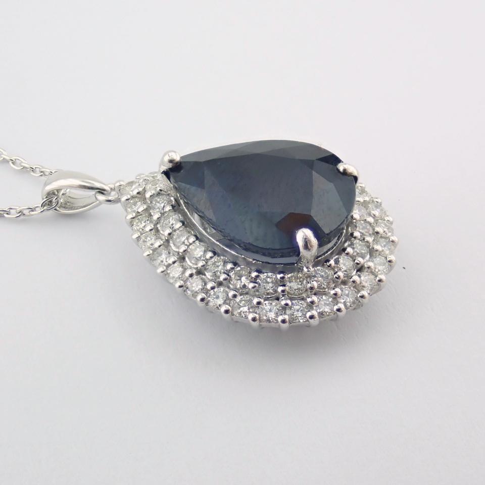 14K White Gold Diamond & Emerald Necklace - Image 4 of 14