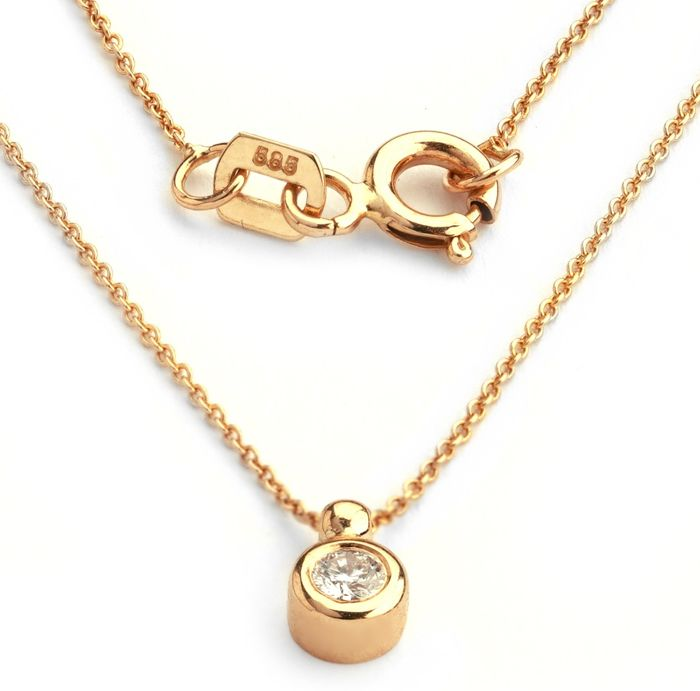 14K Rose Gold - Diamond Pendant Necklace 0,14 Ct. - Image 3 of 3