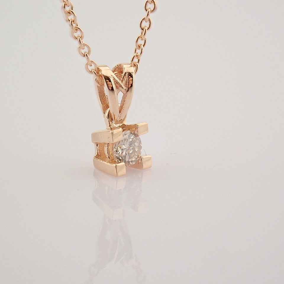 14K Rose/Pink Gold Diamond Solitaire Necklace - Image 7 of 7