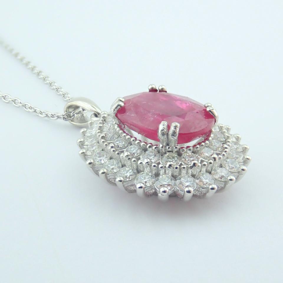 14K White Gold Diamond & Ruby Necklace - Image 4 of 11