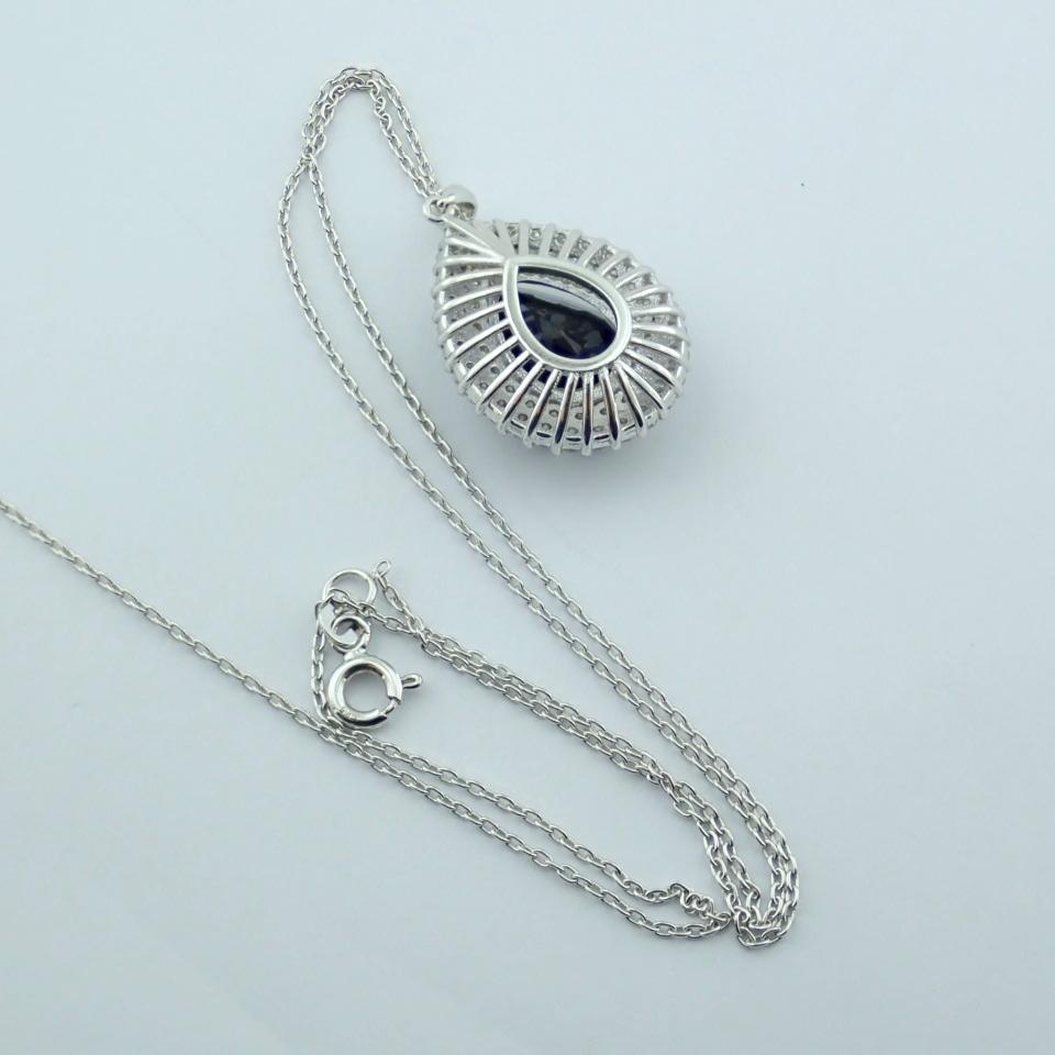 14K White Gold Diamond & Emerald Necklace - Image 13 of 14