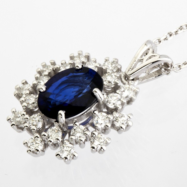 18K White Gold Sapphire Cluster Pendant Necklace Total 1.77 Ct. - Image 6 of 9