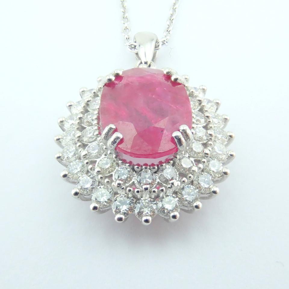14K White Gold Diamond & Ruby Necklace - Image 6 of 11