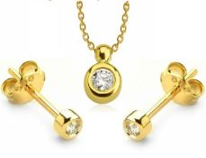 14K Yellow Gold - Diamond Earring and Pendant set Total 0,30 Ct.