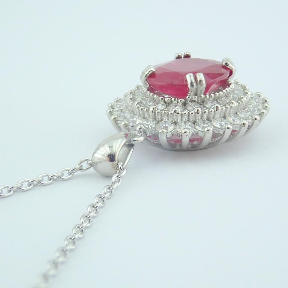 14K White Gold Diamond & Ruby Necklace - Image 11 of 11