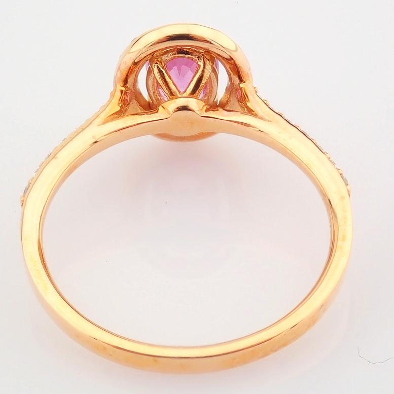 14K Rose/Pink Gold Diamond & Pink Sapphire Ring - Image 4 of 6