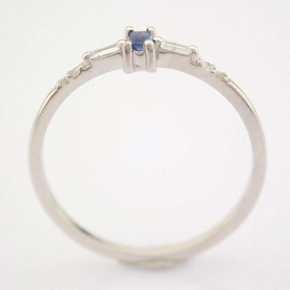 14K White Gold Diamond & Sapphire Ring - Image 5 of 10