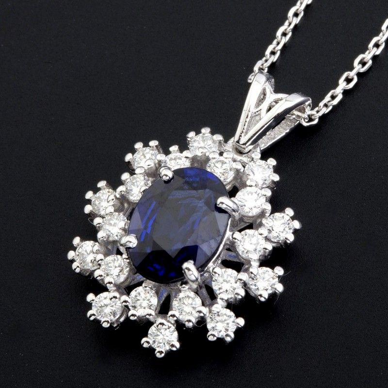 18K White Gold Sapphire Cluster Pendant Necklace Total 1.77 Ct.