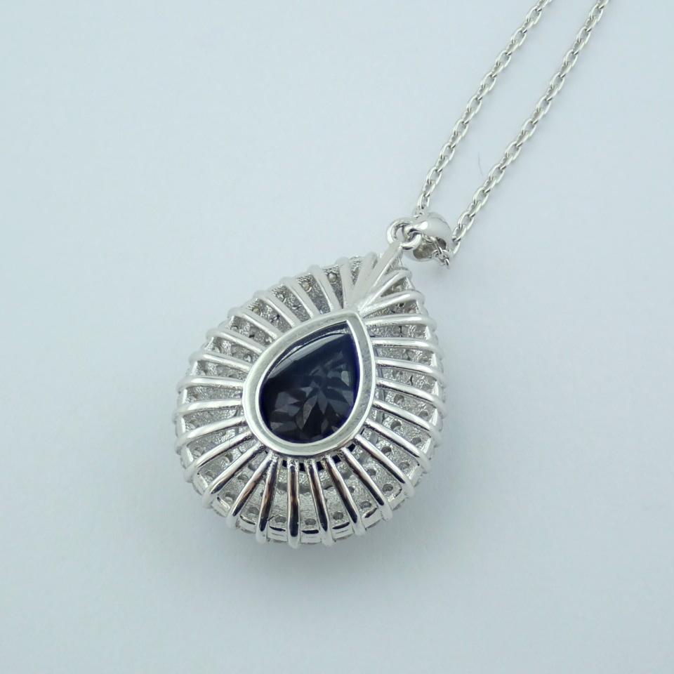 14K White Gold Diamond & Emerald Necklace - Image 11 of 14