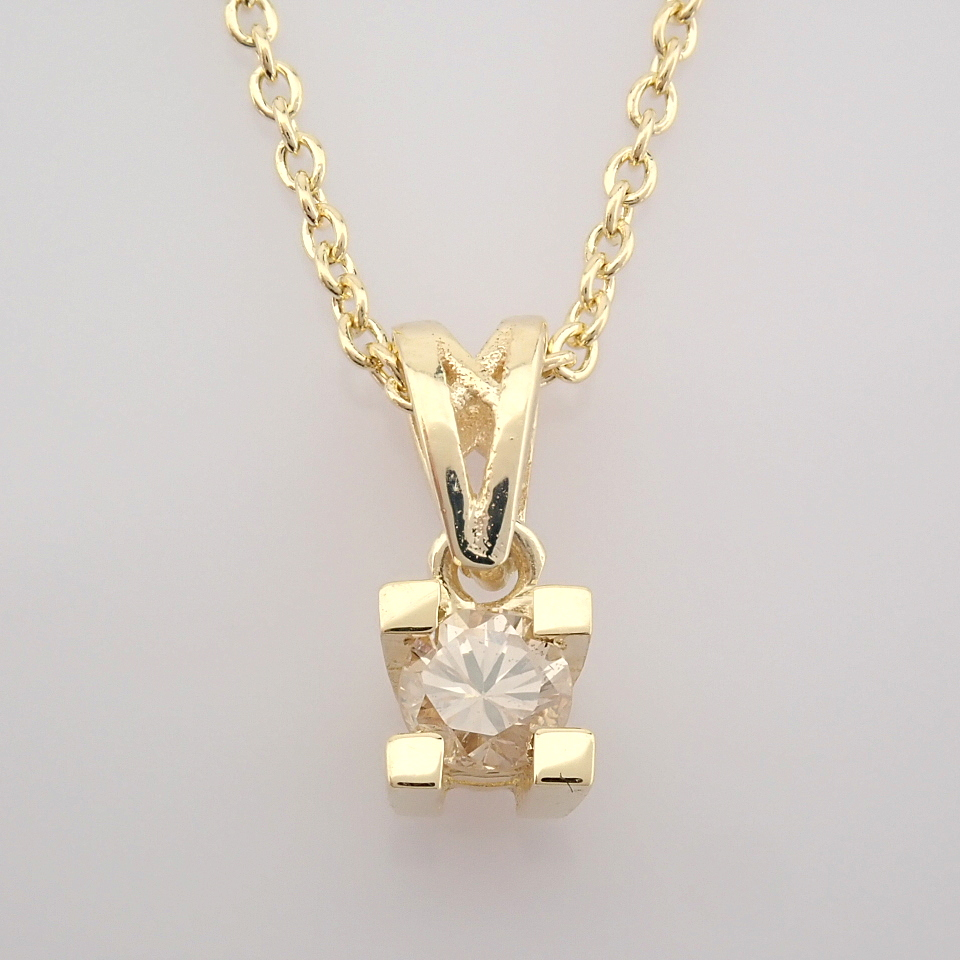 14K Yellow Gold Diamond Solitaire Necklace - Image 4 of 8