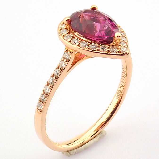 14K Yellow and Rose Gold Diamond & Rodalite Ring - Image 4 of 7