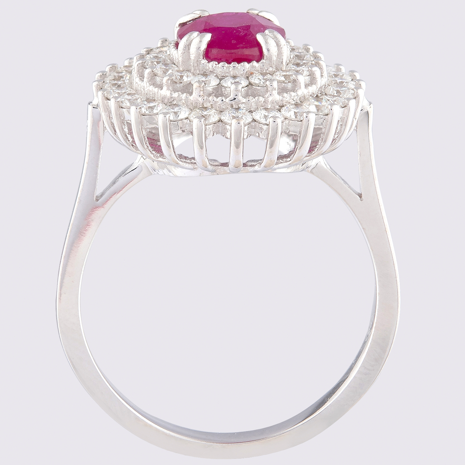14K White Gold Cluster Ring 1.90 Ct. Natural Ruby - 1.00 Ct. Diamond - Image 2 of 4