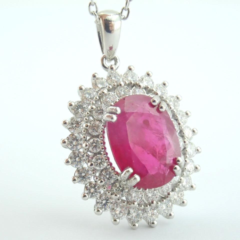 14K White Gold Diamond & Ruby Necklace - Image 9 of 11