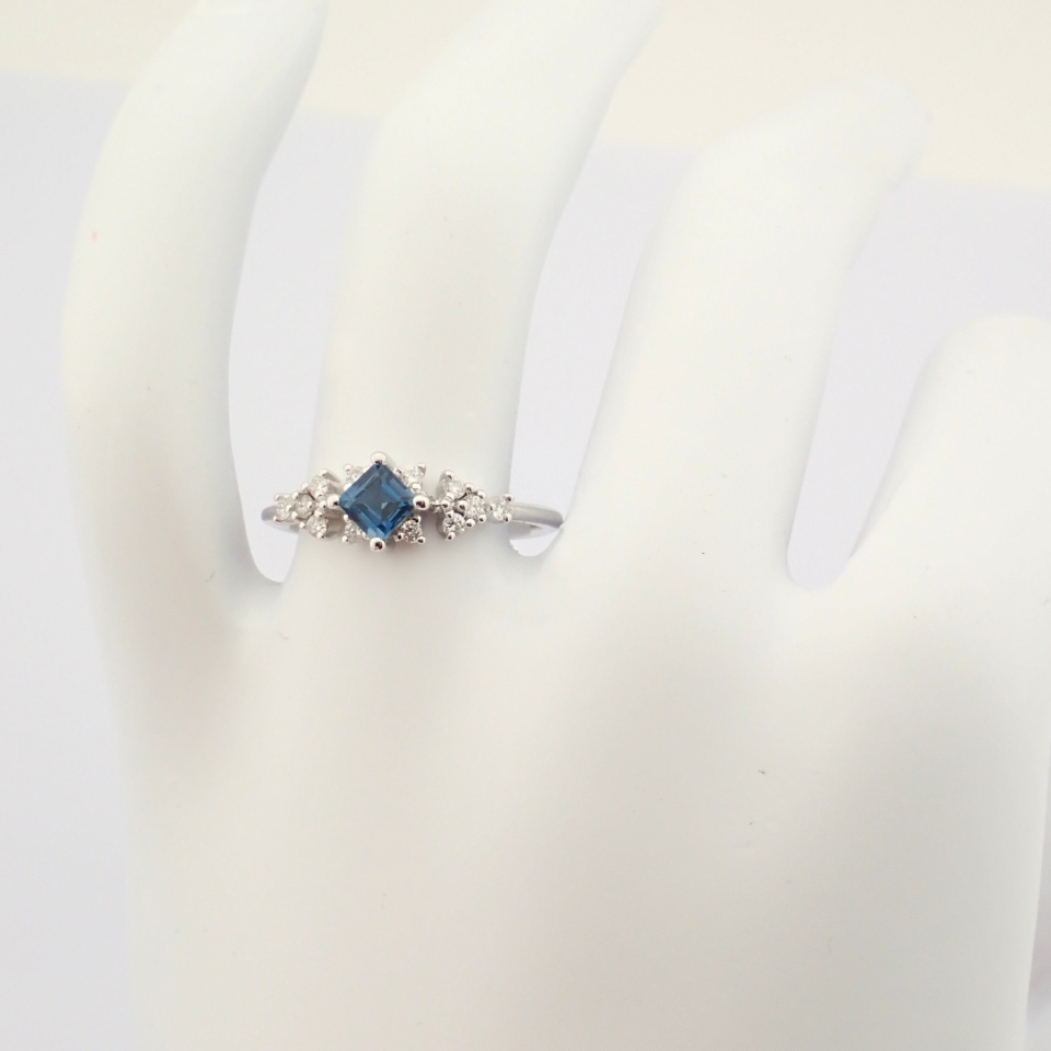 14K White Gold Diamond & London Blue Topaz Ring - Image 2 of 10