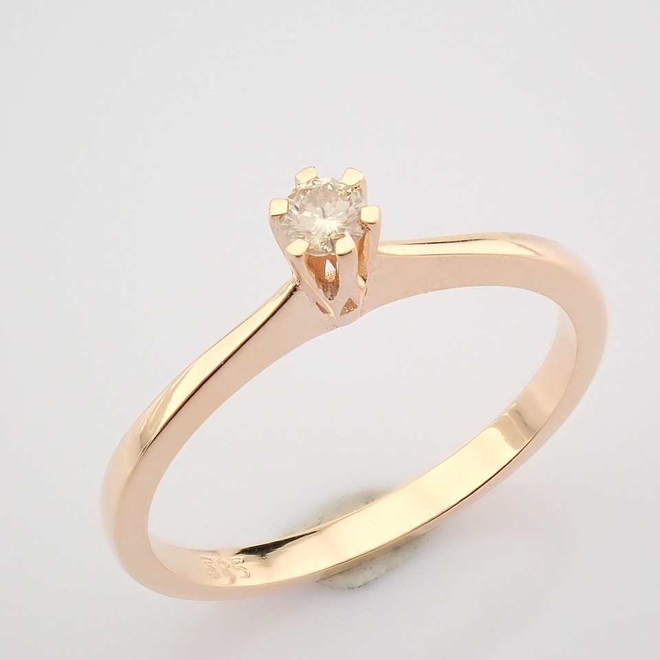 14 Rose/Pink Gold Diamond Solitaire Ring