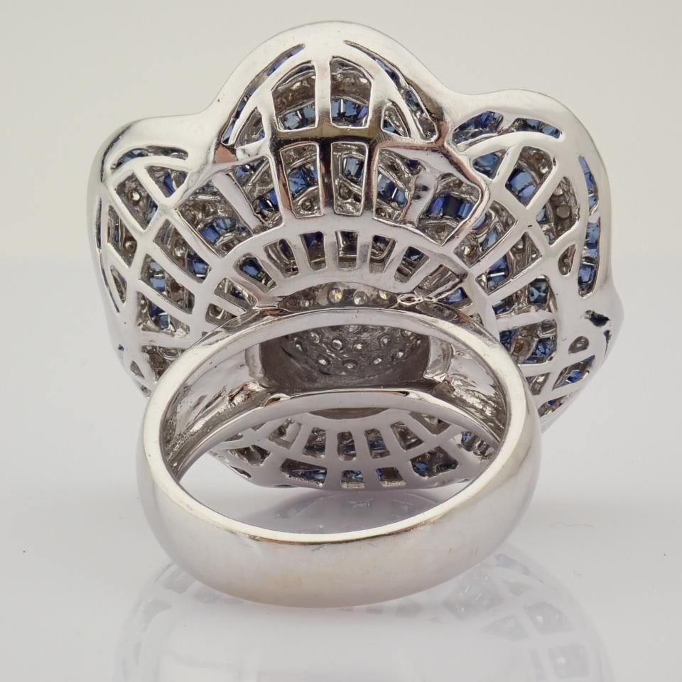 18K White Gold Ring- 4,75 Ct. Natural Sapphire, 2,70 Ct. Diamond - Image 3 of 8