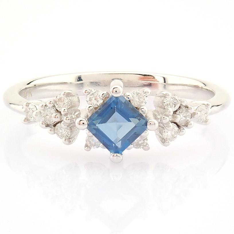 14K White Gold Diamond & London Blue Topaz Ring