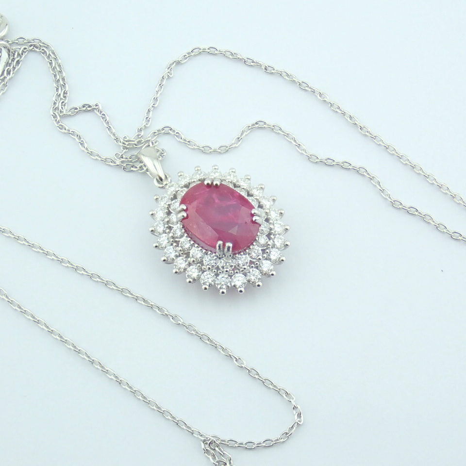 14K White Gold Diamond & Ruby Necklace - Image 2 of 11