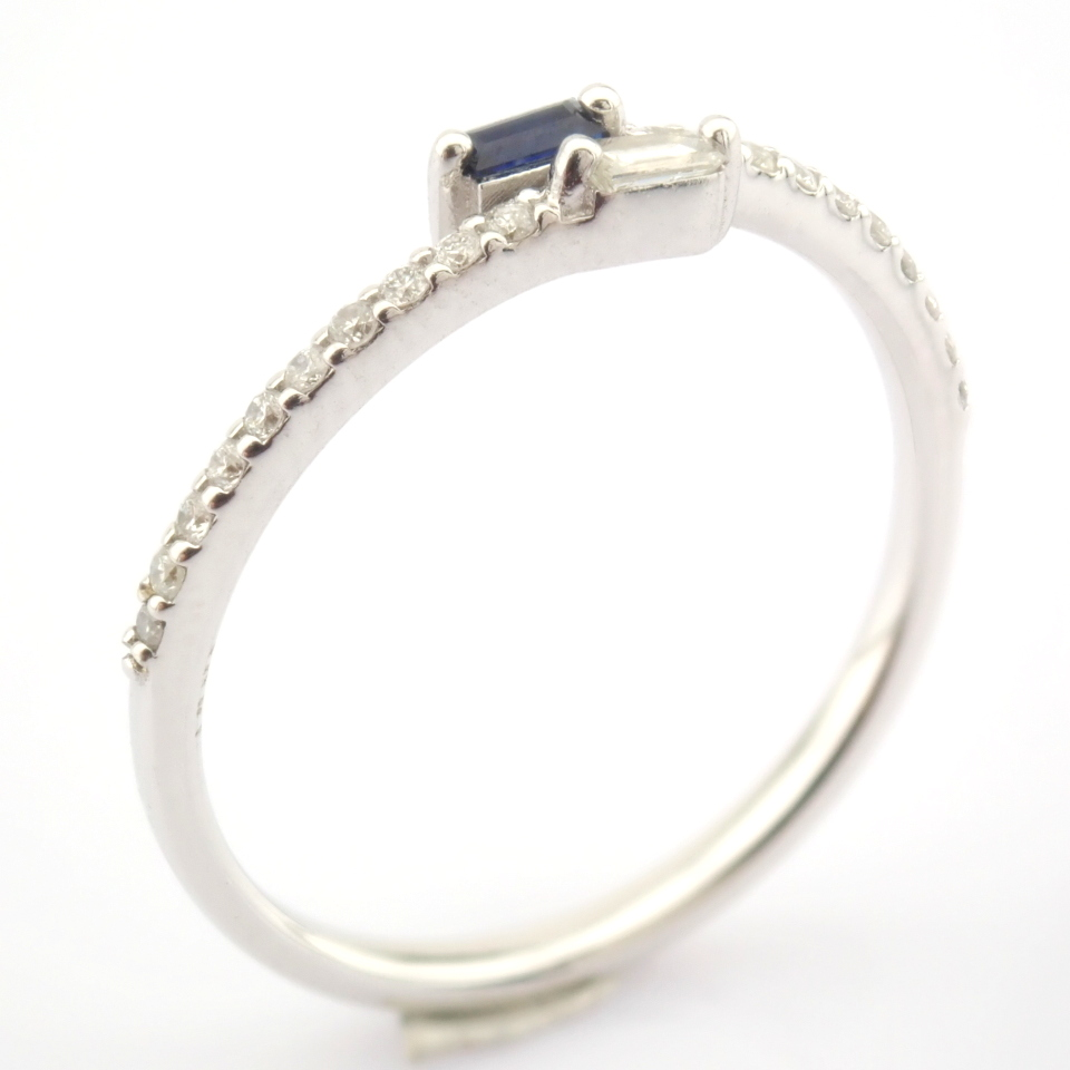 14K White Gold Diamond & Sapphire Ring - Image 3 of 7