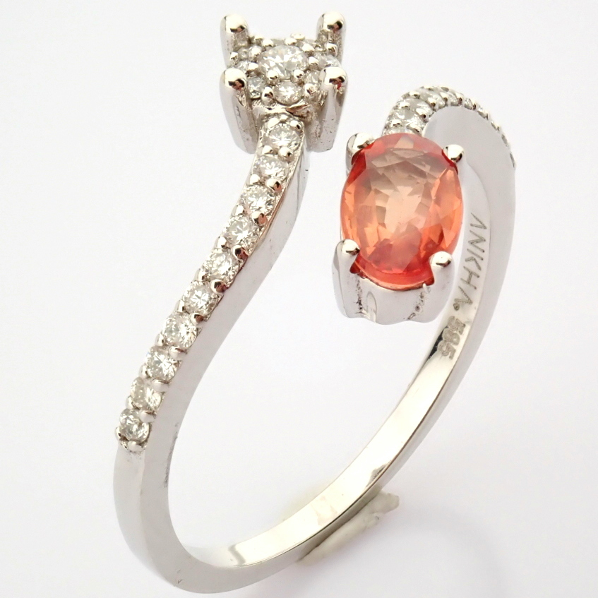 14K White Gold Diamond & Pink Sapphire Ring - Image 5 of 7