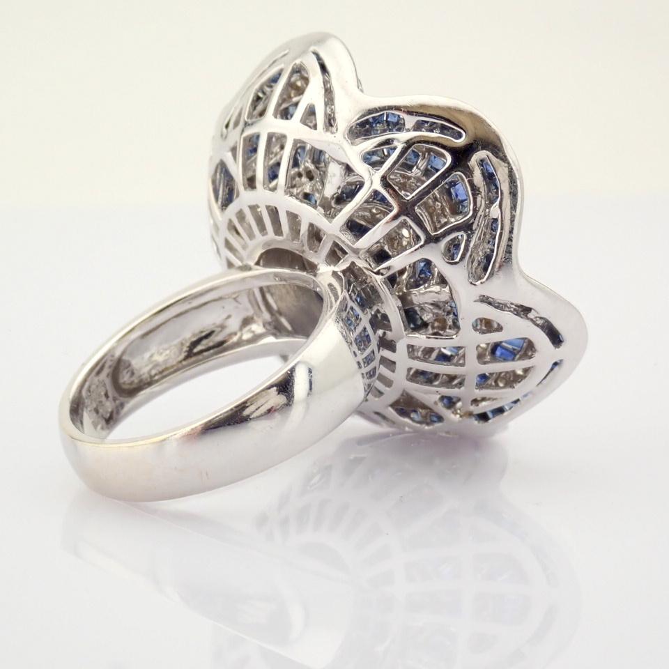 18K White Gold Ring- 4,75 Ct. Natural Sapphire, 2,70 Ct. Diamond - Image 6 of 8
