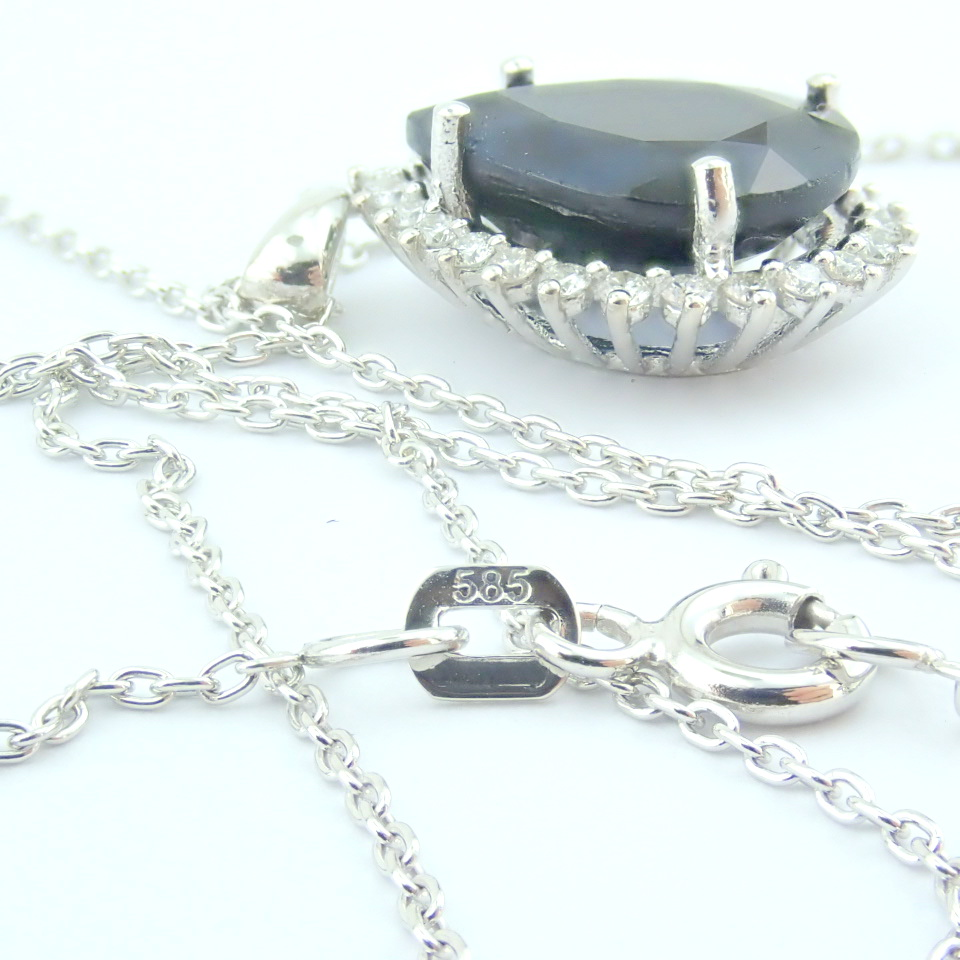 14K White Gold Diamond & Sapphire Necklace - Image 8 of 13