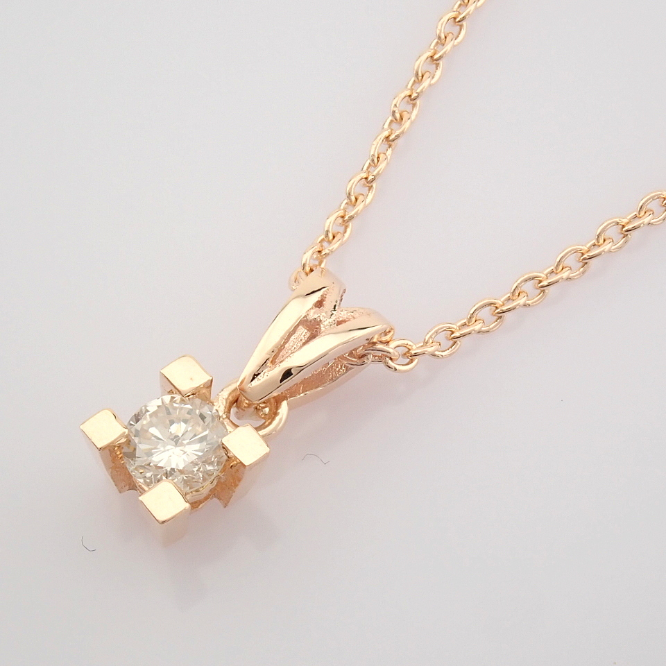 14K Rose/Pink Gold Diamond Solitaire Necklace - Image 4 of 7