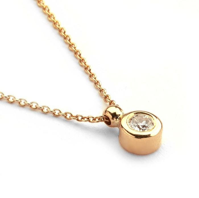14K Rose Gold - Diamond Pendant Necklace 0,14 Ct. - Image 2 of 3
