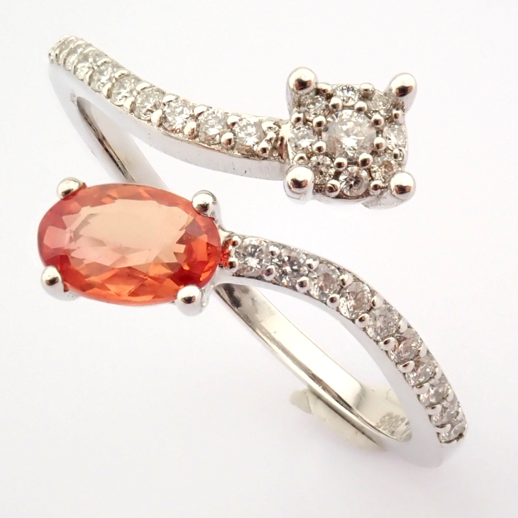 14K White Gold Diamond & Pink Sapphire Ring - Image 7 of 7