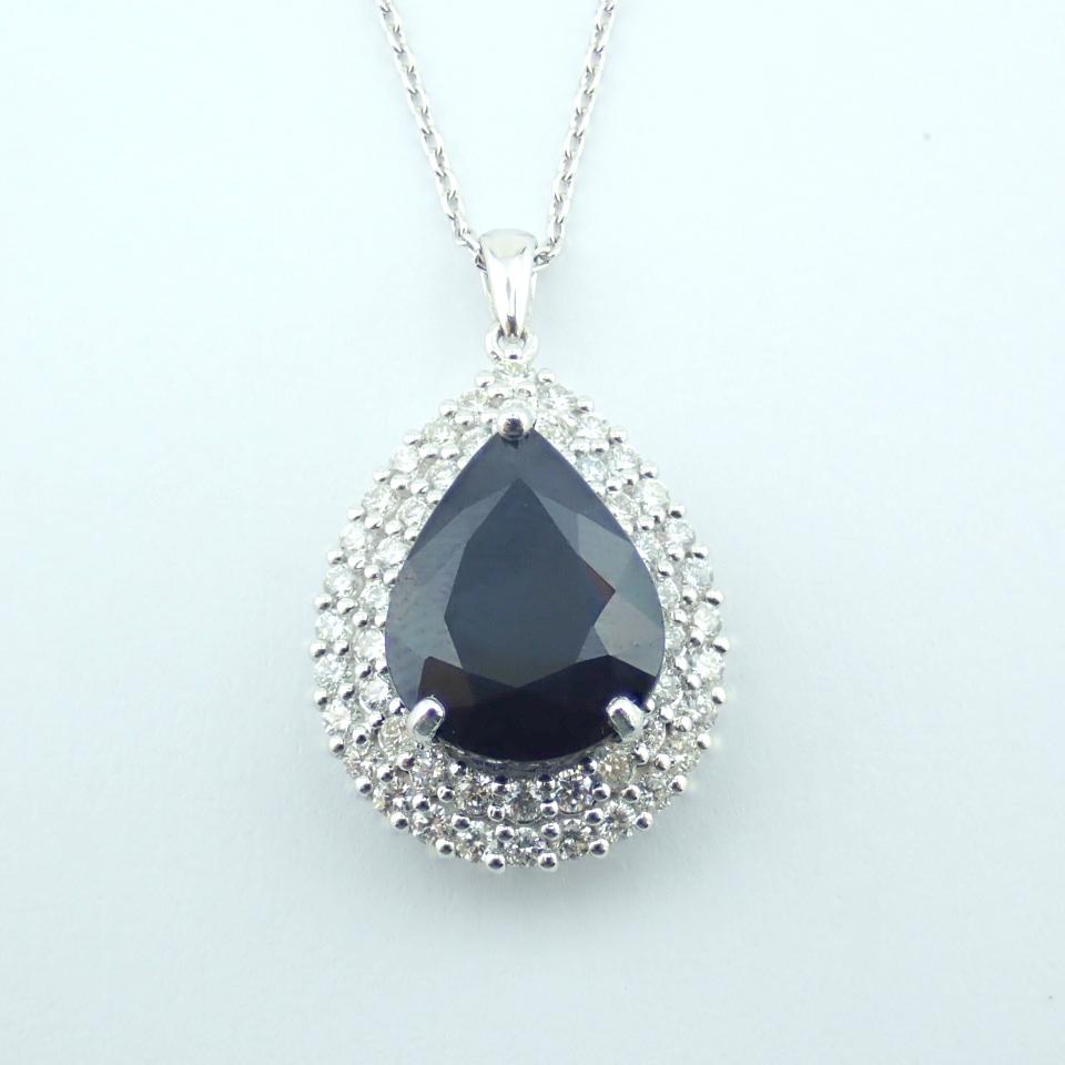 14K White Gold Diamond & Emerald Necklace - Image 6 of 14