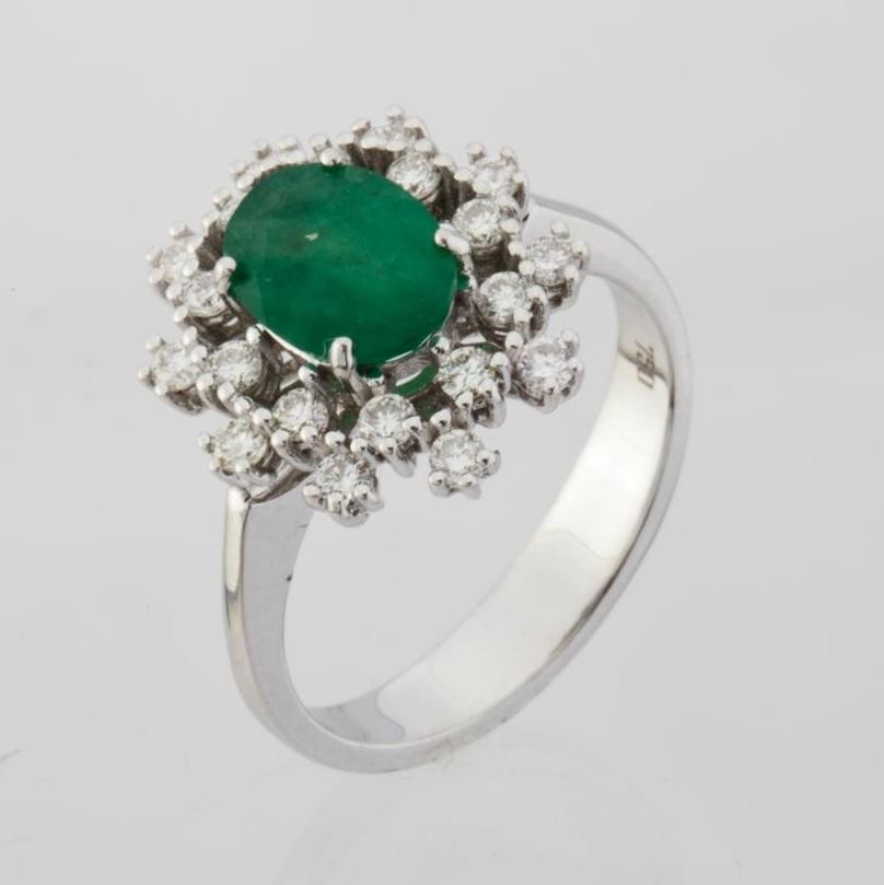 18K White Gold Emerald Cluster Ring Total 1.45 Ct.