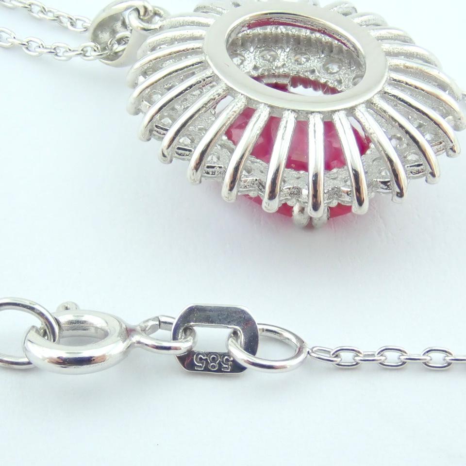 14K White Gold Diamond & Ruby Necklace - Image 3 of 11