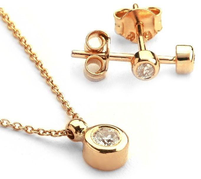14K Rose Gold - Diamond Earring and Pendant set Total 0,30 Ct.