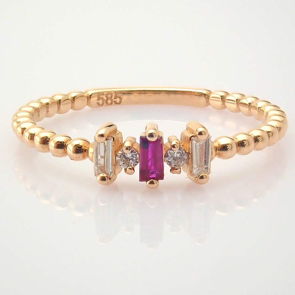 14K White and Rose Gold Diamond & Ruby Ring - Image 7 of 8