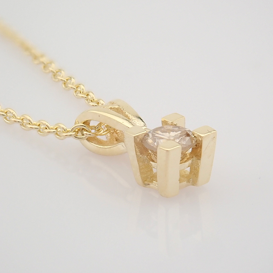 14K Yellow Gold Diamond Solitaire Necklace - Image 2 of 8