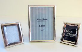 Three Silver Plated Photo Frames