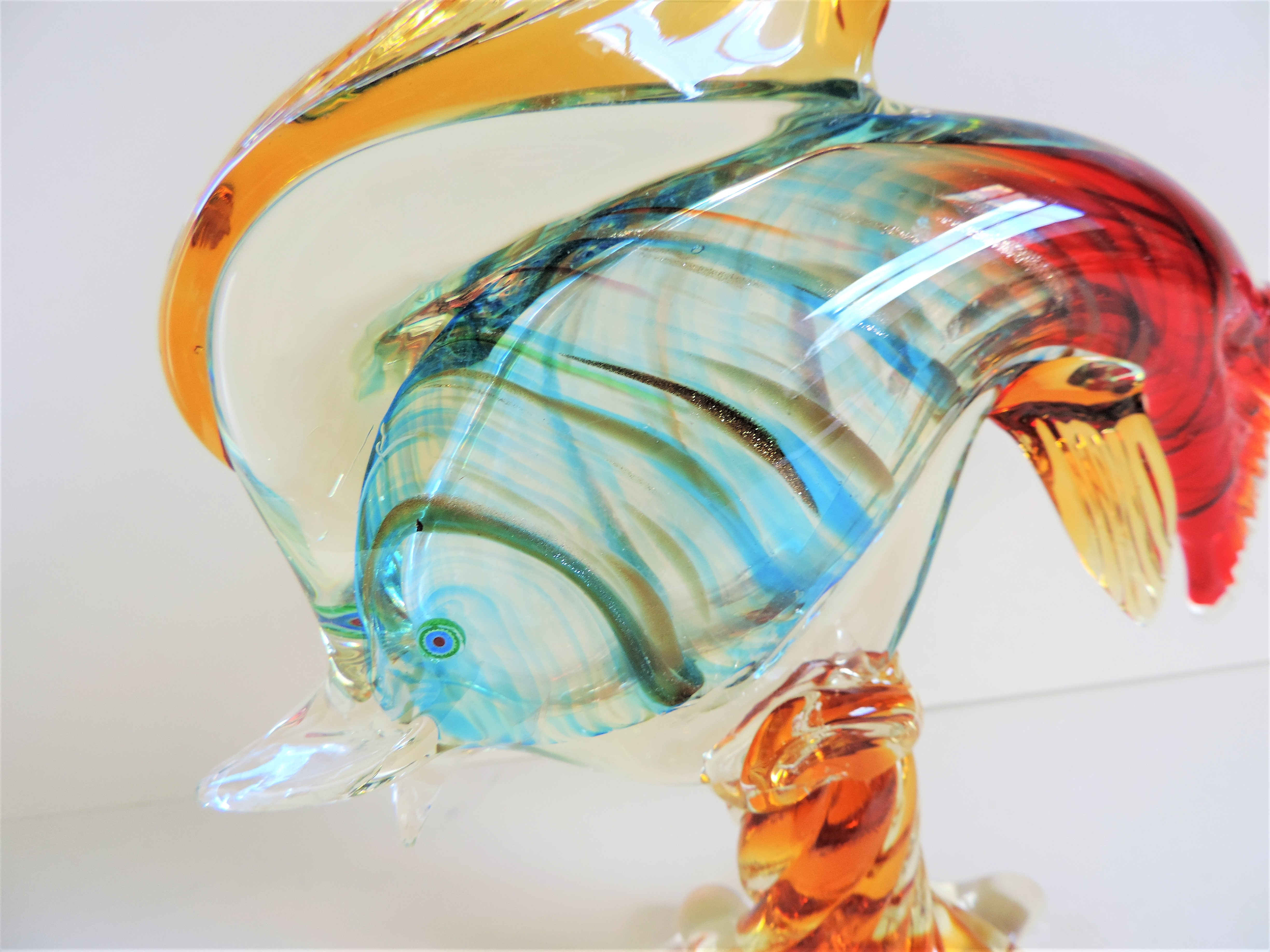 Vintage Murano Glass Fish Sculpture 28cm Tall - Image 6 of 7