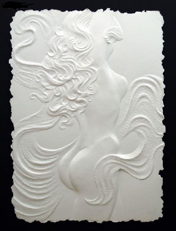 Roberta Peck 'Nude Dancer' Monotype Sculpture on Paper