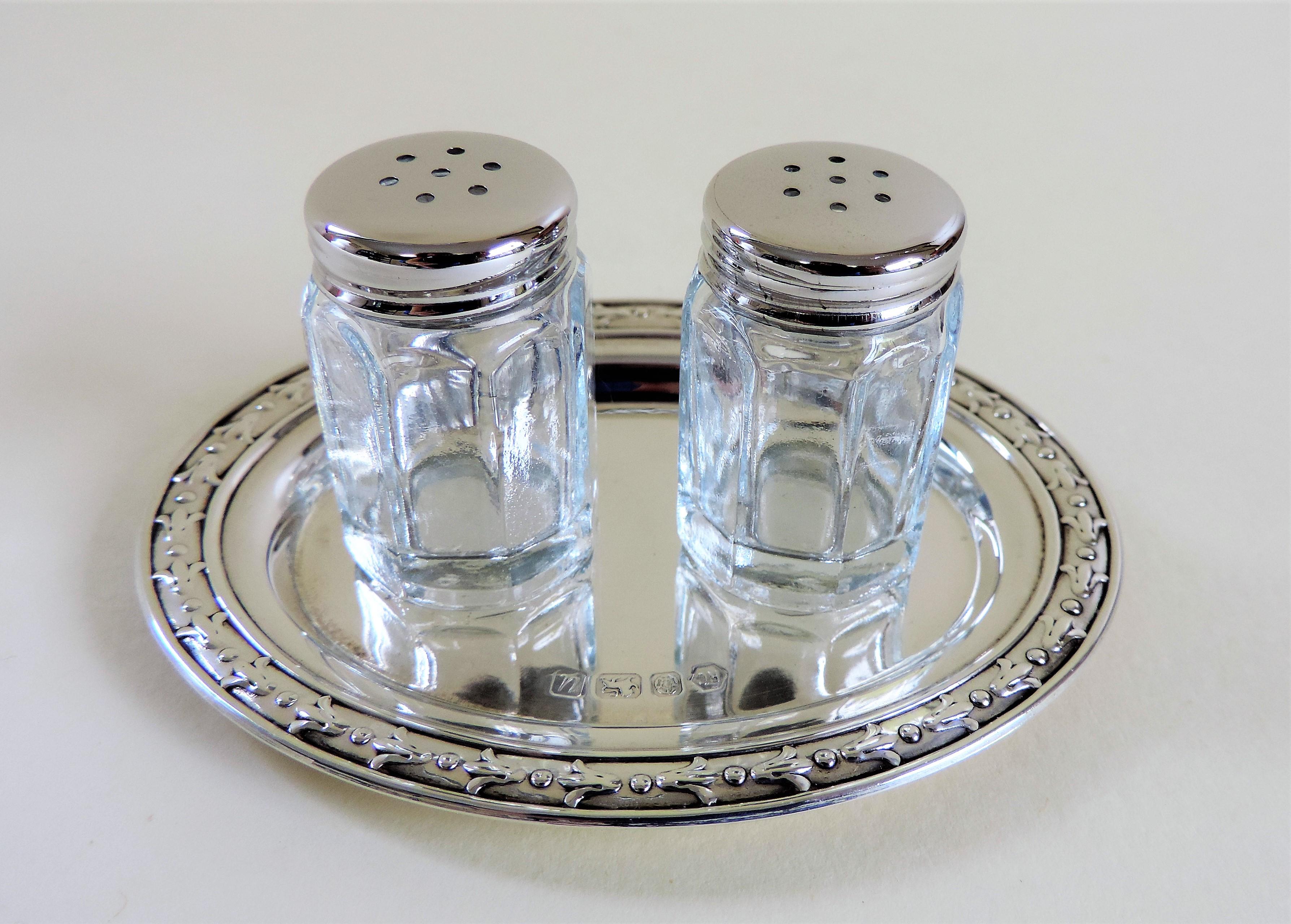Sterling Silver Salt & Pepper Set Carrs of Sheffield Hallmarked Date 1994