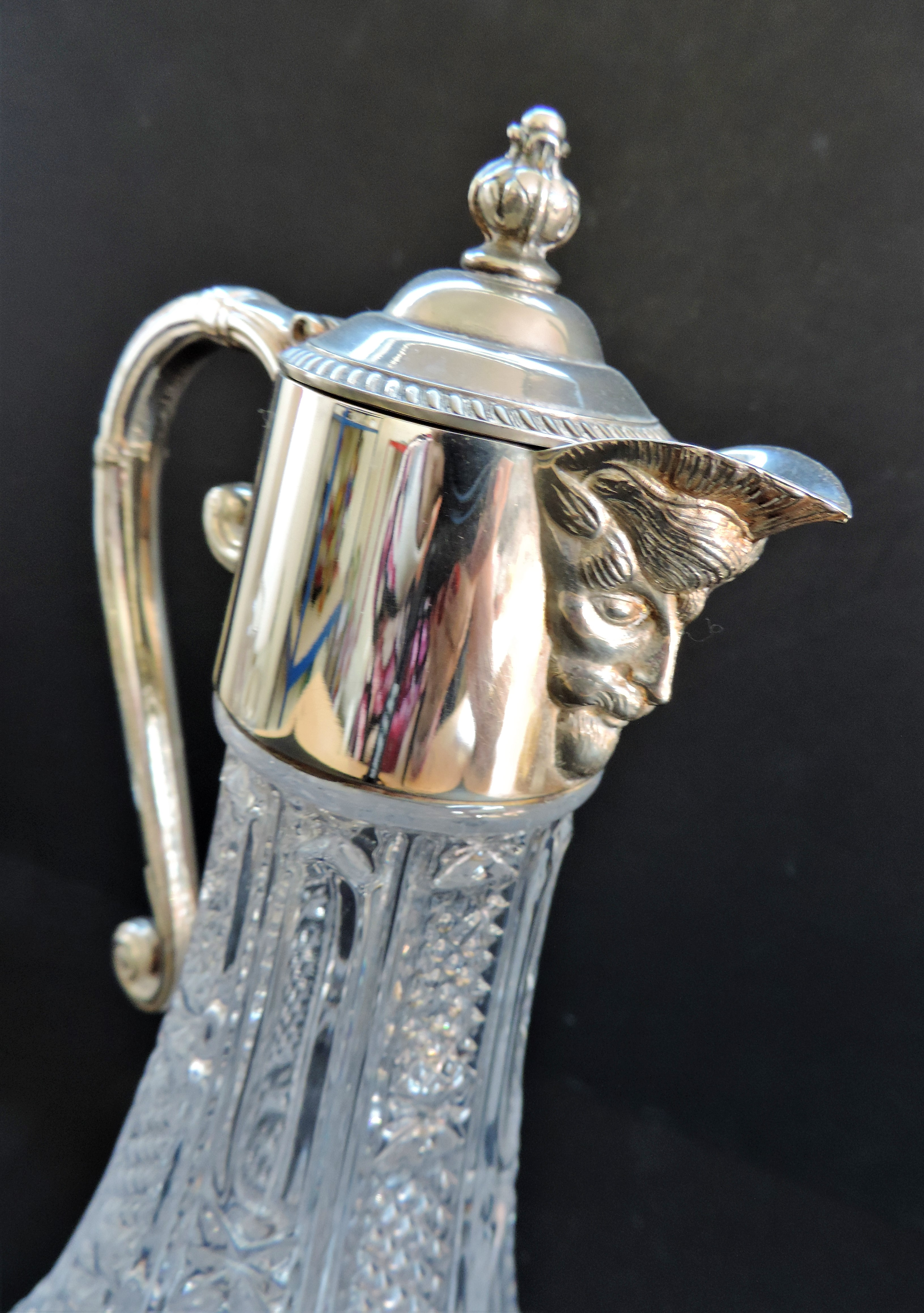 Hand-Cut Crystal And Silver Plate Bacchus Claret Jug - Image 3 of 4