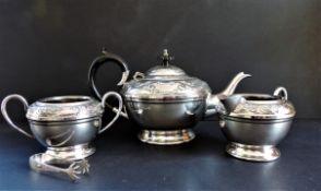 Antique Silver Plated Repousse Decorated Tea Set