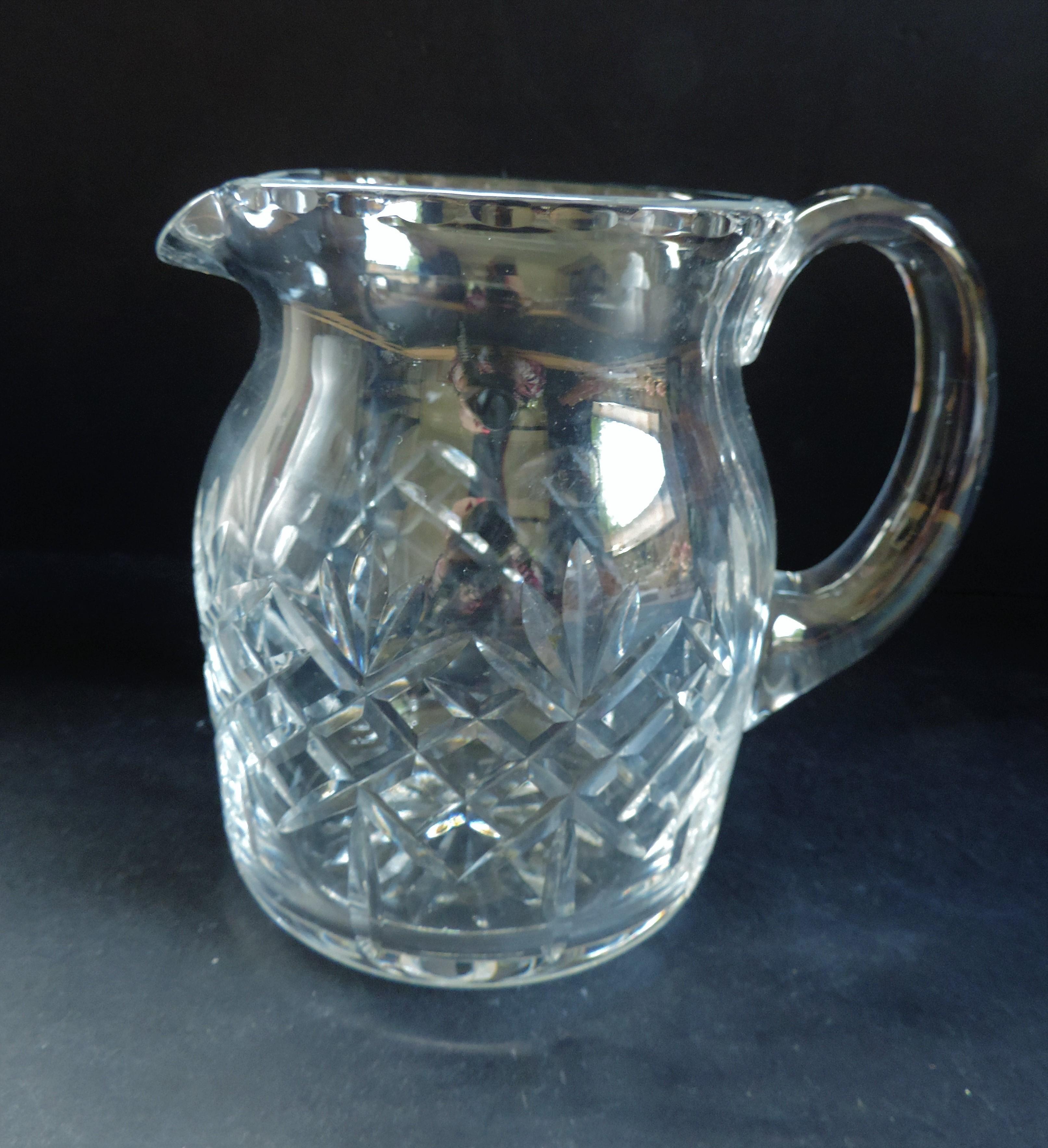 Vintage Crystal Drinks Jug/Pitcher 15cm tall - Image 2 of 5