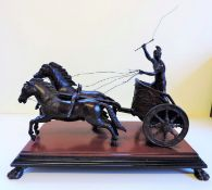 Antique French Bronze Roman Charioteer Sculpture on Marble Base circa 1850's